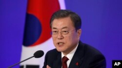 Presiden Moon Jae-in di Seoul, Korea Selatan, Selasa, 14 Januari 2020. (Kim Hong-Ji / Pool Foto melalui AP)