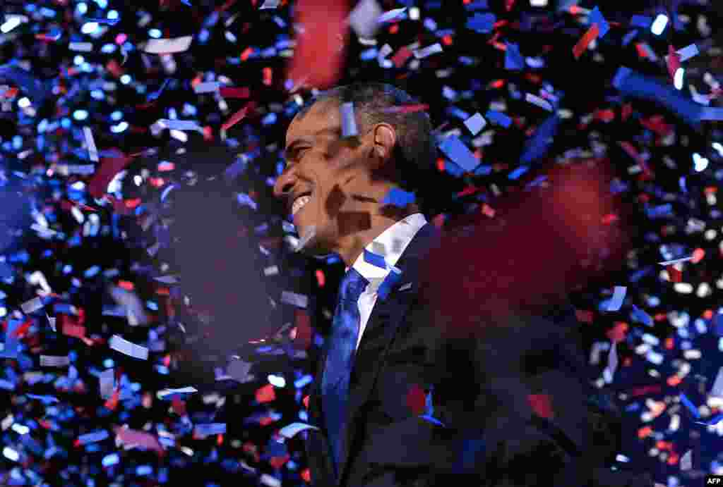 US President Barack Obama celebrates after delivering his acceptance speech in Chicago on November 7, 2012.
