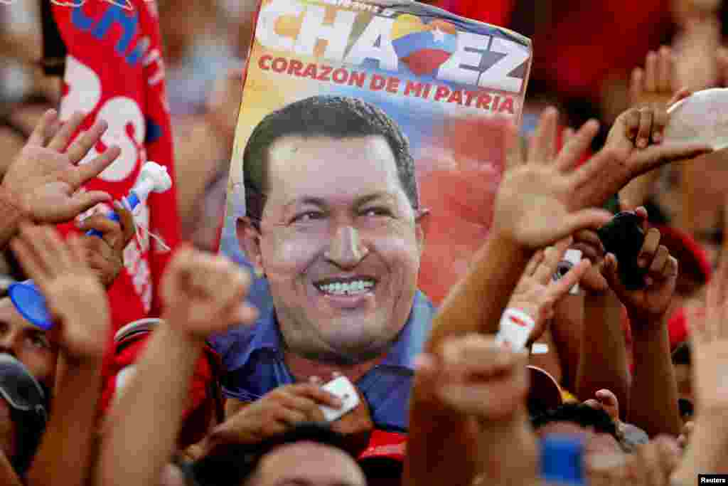 Seguidores del presidente Chávez en Acarigua, estado de Portuguesa.