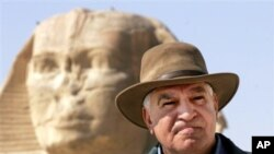 Zahi Hawass, head of the Egypt's Supreme Council of Antiquities, pictured above, resigned over what he considered a lack of security at the country's historic sites (file photo)