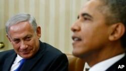 바락 오바마 미국 대통령(오른쪽)이 지난해 9월 워싱턴 백악관에서 베냐민 네타냐후 이스라엘 총리와 회담했다. (자료사진)