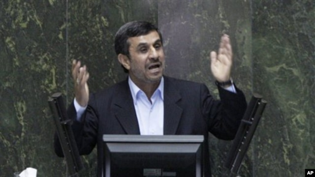 Iranian President Mahmoud Ahmadinejad answers questions in an open session in parliament in Tehran, Iran, Wednesday, March 14, 2012.