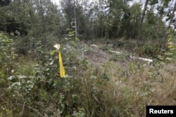 A yellow marker designates the place near the Estonian-Russian border, where, according to Estonia's officials, its security officer Eston Kohver was abducted in the south-east part of country, near village of Miikse, September 7, 2014