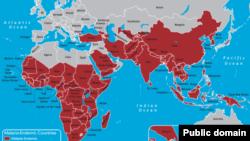 Carte des pays touches par le paludisme.