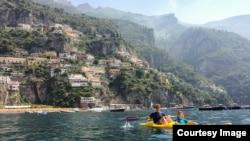 Kara Rivenbark kayaking with her Dad in Italy, July 7, 2014.