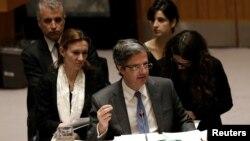 L'ambassadeur français à l'ONU François Delattre devant le conseil de sécurité, New York, le 28 février 2017.