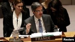 L'ambassadeur français aux États-Unis François Delattre parle devant le conseil de sécurité à New York, le 28 février 2017.