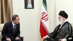 In this photo released by an official website of the Iranian supreme leader's office, U.N. Secretary-General Ban Ki-Moon, left, meets with Iranian supreme leader Ayatollah Ali Khamenei, Tehran, Iran, August 29, 2012.