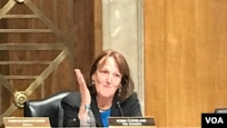 美中经济与安全审查委员会副主席克里弗兰2019年9月4日主持2019年美中关系听证会(美国之音锺辰芳拍摄)