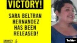 Sara Beltran, salvadoreña indocumentada que padece un tumor cerebral, estaba detenida en Dallas.