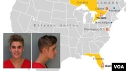 Justin Bieber Mapa de detenções
