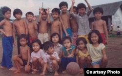 Bopha Malone (the bottom right) was pictured with family and friends at a refugee camp in Philippines, where she and her family spent six months before settling in Harrisburg, Pennsylvania in 1989. (Courtesy photo of Bopha Malone)
