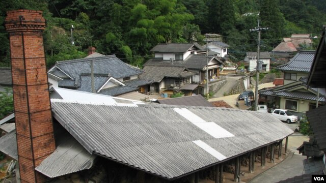The 8-chambered cooperative climbing kiln in Sarayama.