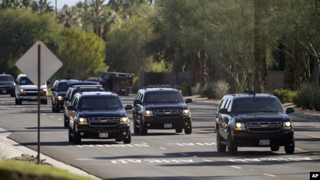 President Barack Obama's vehicle and motorcade leave Thunderbird Country Club in Rancho Mirage, Calif., Feb. 13, 2016. On Monday and Tuesday, Obama will be with the leaders of the Association of Southern Asian Nations (ASEAN).