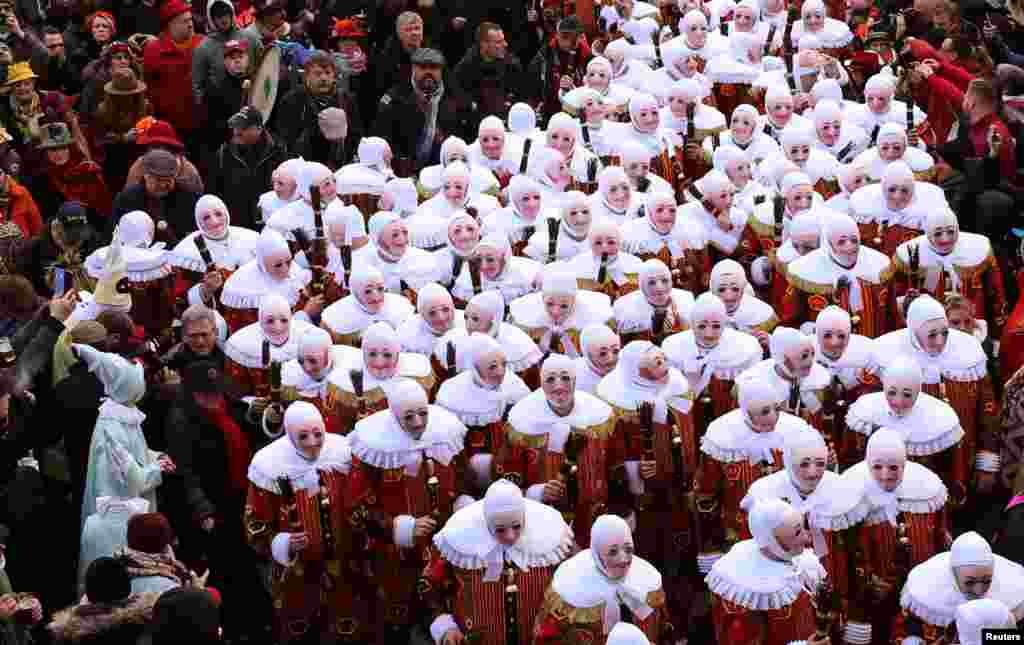 Gilles of Binche parade during the Binche carnival, a UNESCO World Heritage event in Binche, Belgium.