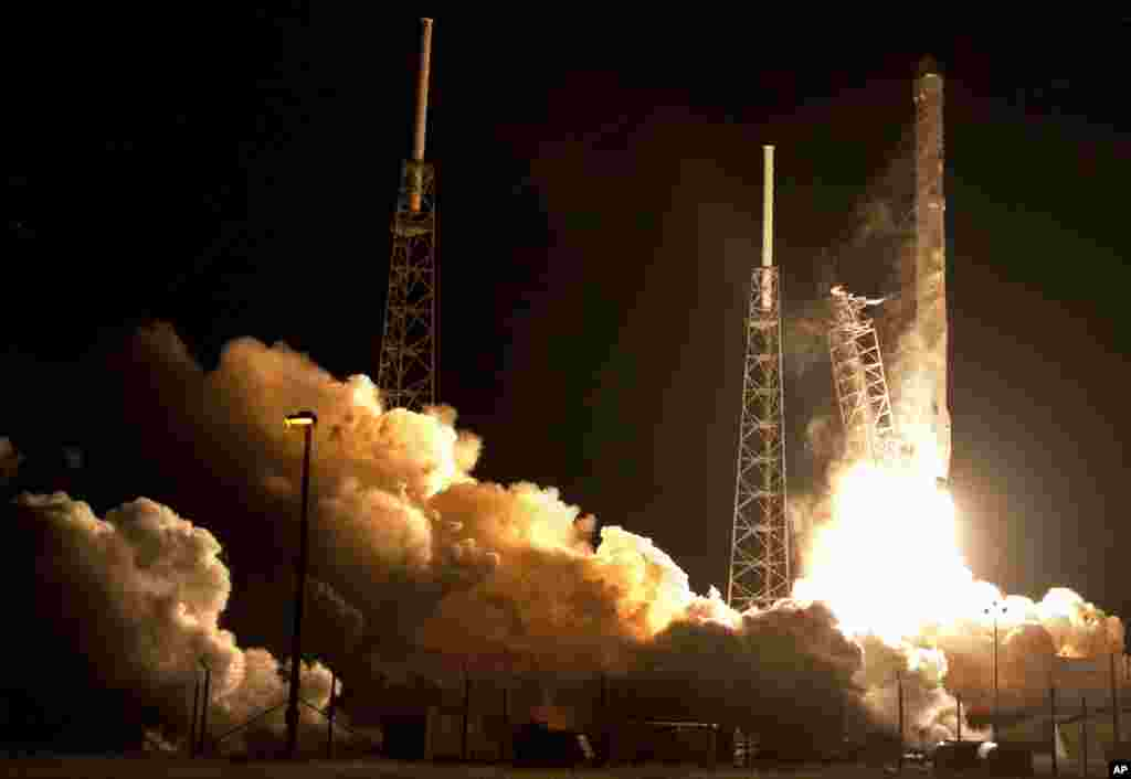 The Falcon 9 SpaceX rocket lifts off from Space Launch Complex 40 at the Cape Canaveral Air Force Station in Cape Canaveral, Fla., Saturday, Jan. 10, 2015. SpaceX is on a resupply mission to the International Space Station.