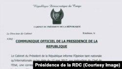 Communication officielle de la présidence de la RDC, 13 mai 2017