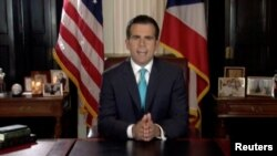 Gouvènè Porto Rico a, Ricardo Rossell, ki tap anonse demisyon l nan San Juan, jedi 25 jiyè 2019 la, Porto Rico.