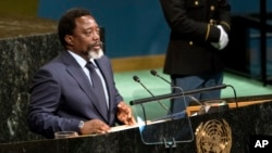 FILE - President of the Democratic Republic of the Congo Joseph Kabila addresses the United Nations General Assembly, Sept. 23, 2017