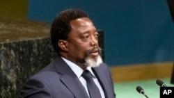 Joseph Kabila, président de la République démocratique du Congo (RDC) devant l'Assemblée générale des Nations unies, à New York, 23 septembre 2017.