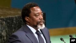 Joseph Kabila, président de la République démocratique du Congo (RDC) prononce son discours devant l'Assemblée générale des Nations unies, à New York, 23 septembre 2017.