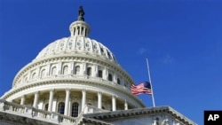 The American flag flies at half-staff on the US Capitol in Washington to honor the slain aide, Gabe Zimmerman, of Rep. Gabrielle Giffords, D-Ariz., 09 Jan 2011.