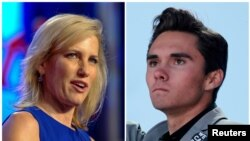 A combination of file photos shows media personality Laura Ingraham in Washington, Oct. 14, 2017, and Marjory Stoneman Douglas High School student David Hogg, at a rally in Washington, March 24, 2018.