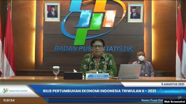 Kepala BPS Margo Yuwono dalam telekonferensi pers di Jakarta, Kamis (5:8) mengatakan PE Indonesia pada Triwulan-II 2021 mencapai 7,07 persen secara yoy (VOA).