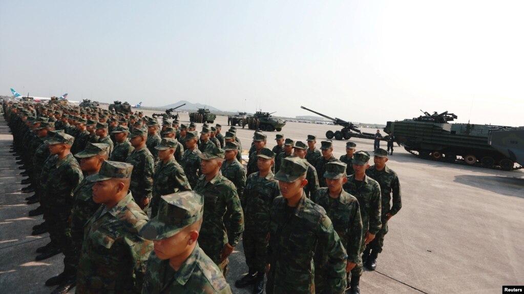 Binh lính tham dự lễ khai mạc cuộc tập trận Cobra Gold, cuộc tập trận quân sự đa phương hàng năm lớn nhất ở Châu Á, bên ngoài Bangkok, Thái Lan, ngày 13 tháng 2, 2018.