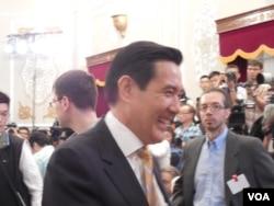 台灣總統馬英九5月18日向中外媒體致意(美國之音趙婉成)