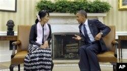 緬甸民主運動領袖昂山素姬星期三在白宮與美國總統奧巴馬會面。