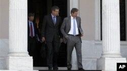 그리스 연립 정부와의 협상 결렬 후 건물을 빠져나오는 관계자들.