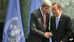 Государственный секретарь США Джони Керри и генеральный секретарь ООН Пан Ги Мун