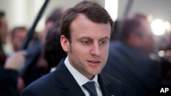 Emmanuel Macron is seen in San Francisco, California, during the visit of French President Francois Hollande to the United States, in Feb. 12, 2014.