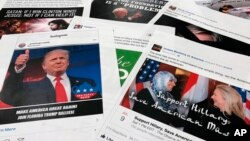 FILE - Some of the Facebook and Instagram ads linked to a Russian effort to disrupt the American political process and stir up tensions around divisive social issues, released by members of the U.S. House Intelligence committee, are photographed in Washin