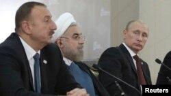 الهام علی اف رئیس جمهوری آذربایجان، حسن روحانی رئیس جمهوری ایران و ولادیمیر پوتین رئیس جمهوری روسیه
