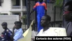 Manifestantes da favor dos garimpeiros da Lunda Norte.