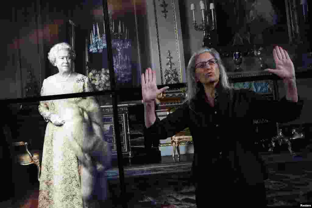U.S. photographer Annie Leibovitz gestures during a press preview of her exhibition 'Women: New Portraits' at Wapping Hydraulic Power Station in London, Britain.