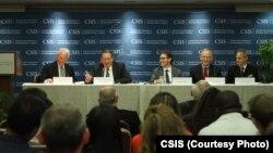 """美國戰略與國際問題研究中心""""加強湄公河健康安全伙伴關係""""報告發佈會。(美國戰略與國際問題研究中心)"""