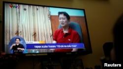 """Hình ảnh ông Thanh """"đầu thú"""" trên sóng truyền hình quốc gia Việt Nam."""
