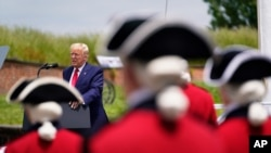 resident Donald Trump speaks during a Memorial Day ceremony at Fort McHenry National Monument and Historic Shrine, Monday, May 25, 2020, in Baltimore. (AP Photo/Evan Vucci)