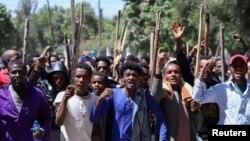 Des jeunes Oromo lors d'une manifestation à Addis-Abeba, Ethiopie, le 24 octobre 2019. (Photo Reuters)