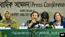 Các khôi nguyên Nobel Tawakkol Karman, Shirin Ebadi và Mairead Maguire tại họp báo hôm 28/2/2018