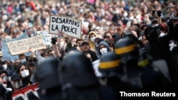 Protest against police brutality and the death in Minneapolis police custody of George Floyd, in Nantes