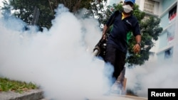 Workers in Singapore spray chemicals to fight mosquitos which can carry Zika.