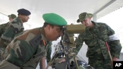 An Indian army officer looks through binoculars during a visit to a range outside the Russian city of Vladikavkaz (2010 file photo)