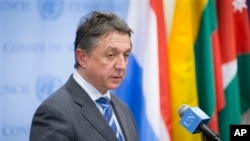 Ukraine's U.N. Ambassador Yuriy Sergeyev addressing media after U.N. Security Council meeting, United Nations headquarters, March 1, 2014.