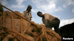 Men unload sacks of khat in Mandera, northeastern Kenya, Nov. 2007 file photo.
