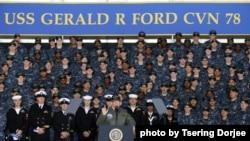 美国总统川普2017年3月2日登福特号超级航母并发表讲话 (美国海军照片)