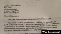 Robert Sekutanın Nigar Yaqubluya təbrik məktubu